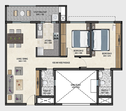Sobha Dream Acres floor plan of 2bhk flat in bangalore at budget price