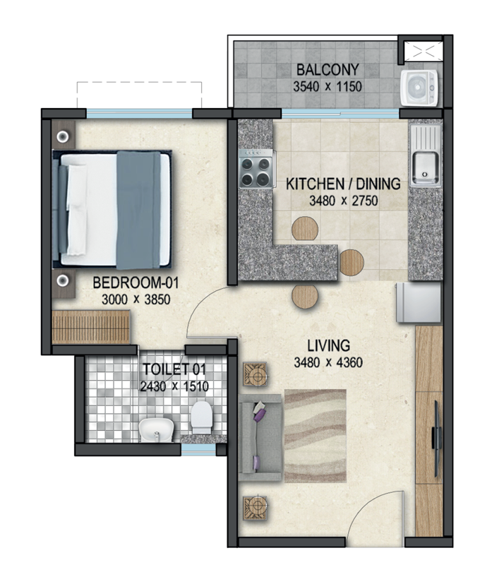 Sobha Dream Acres floor plan of 1bhk apartment in bangalore at affordable rates