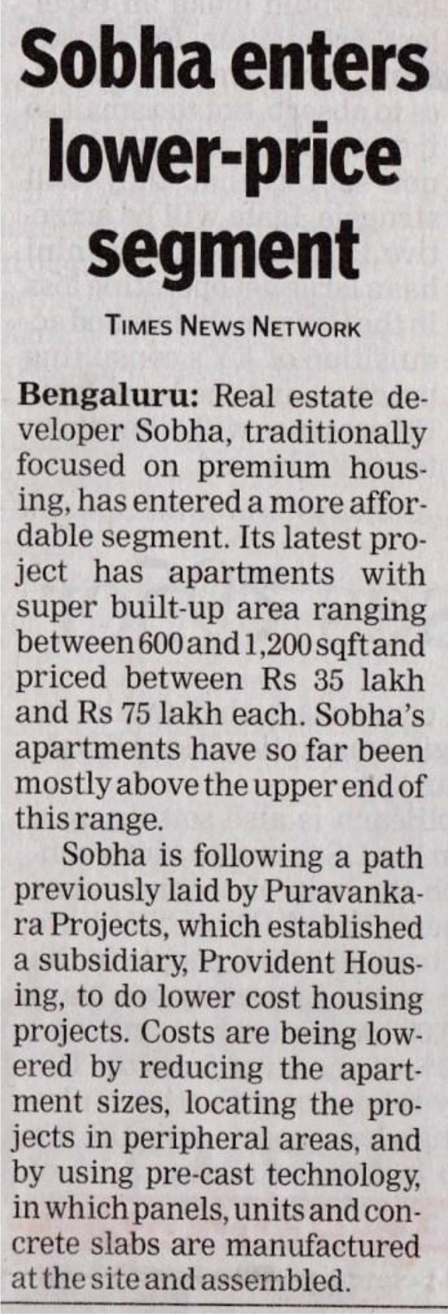 News about Sobha Dream Acres - Best real estate investment in Bangalore