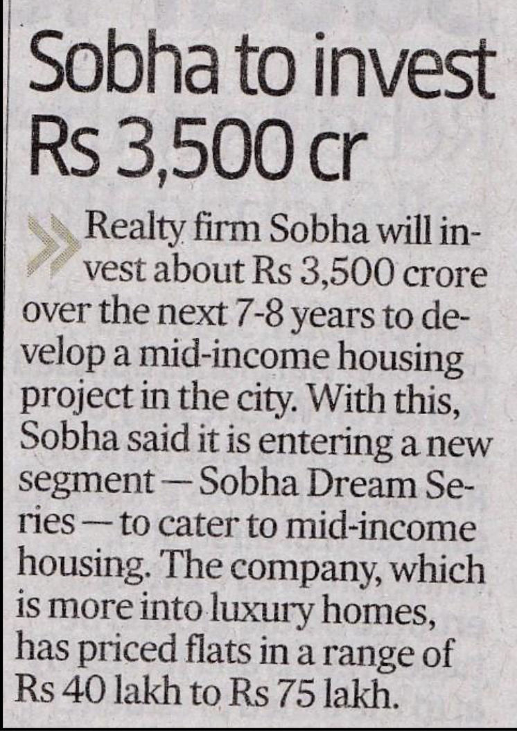 News about Sobha Dream Acres - Best properties in Bangalore