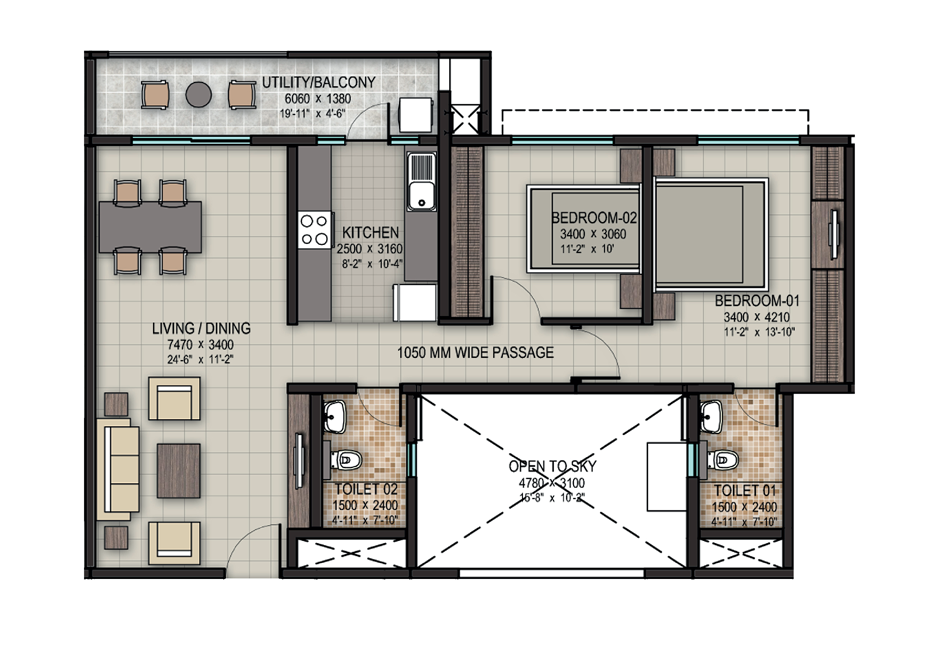 Sobha Dream Acres floor plan of 2bhk apartment in bangalore at affordable rates